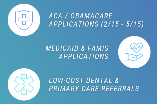 ACA/Obamacare applications (2/15 - 5/15); Medicaid/FAMIS applications; low-cost dental & primary care referrals